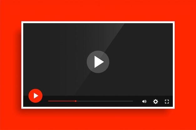Modèle de lecteur multimédia vidéo rouge moderne