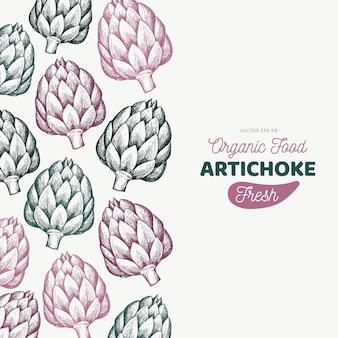 Modèle de légume d'artichaut. illustration de nourriture dessiné à la main.