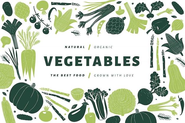 Modèle de légumes dessinés à la main de dessin animé.