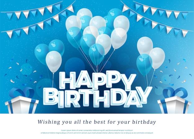 Modèle de lettrage de carte de voeux joyeux anniversaire