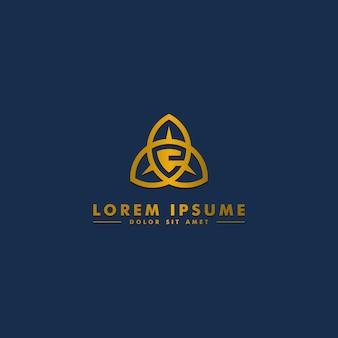 Modèle de lettre e logo, icône du bouclier abstrait