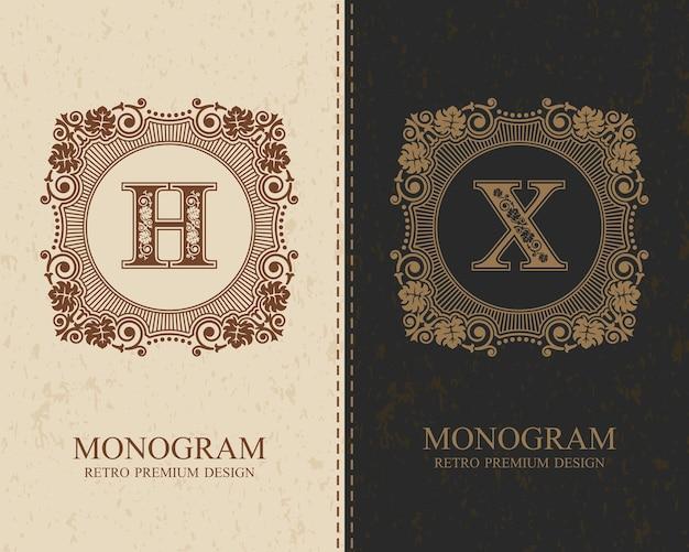 Modèle de lettre emblème hx, éléments de conception monogram, modèle gracieux calligraphique.