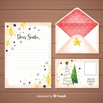 Modèle de lettre et enveloppe aquarelle noël