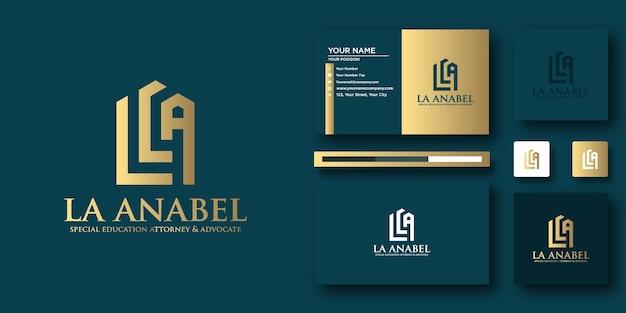 Modèle de lettre de logo la anabel law avec concept moderne et conception de carte de visite