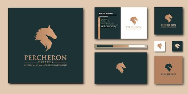 Modèle de lettre de logo de cheval de luxe avec concept moderne et conception de carte de visite
