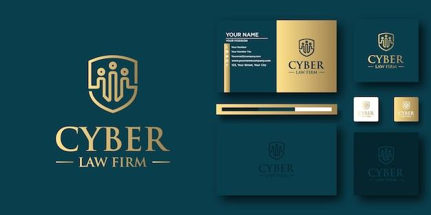 Modèle de lettre de logo cyber law avec concept moderne et conception de carte de visite