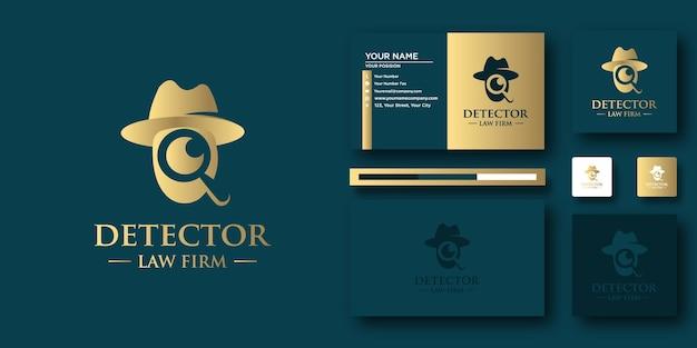 Modèle de lettre de logo detector law avec concept moderne et conception de carte de visite