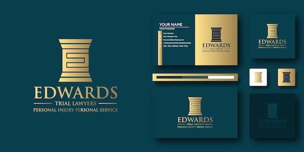 Modèle de lettre de logo edwards law avec concept moderne et conception de carte de visite