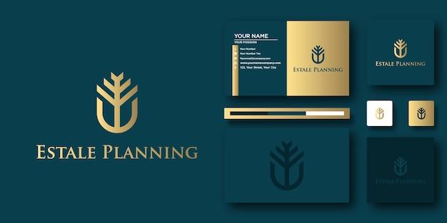 Modèle de lettre de logo estake planning avec concept moderne et conception de carte de visite