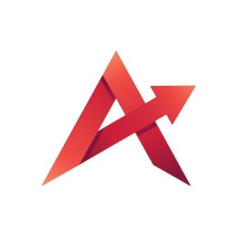 Modèle de lettre a avec logo flèche