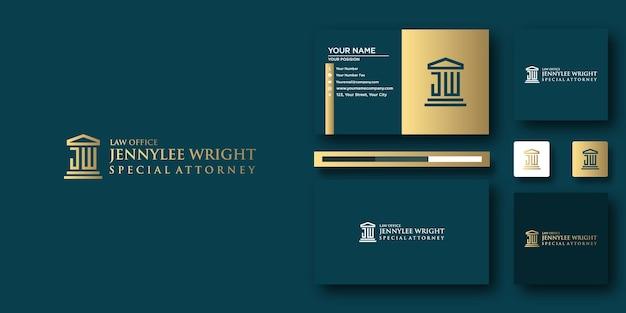 Modèle de lettre de logo jennylee special attorney avec concept moderne et conception de carte de visite
