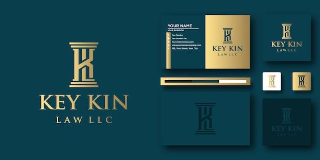 Modèle de lettre de logo key kin law avec concept moderne et conception de carte de visite