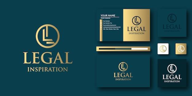 Modèle de lettre de logo legal inspiration law avec concept moderne et conception de carte de visite