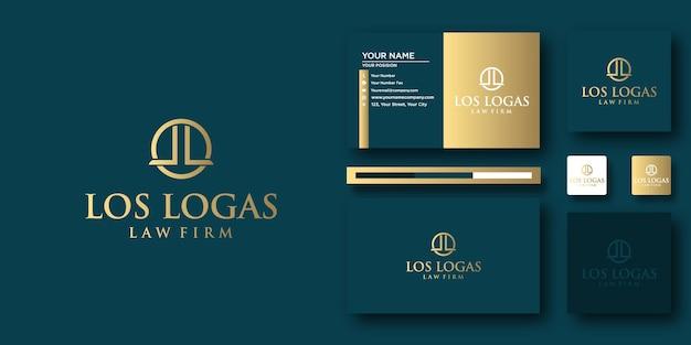 Modèle de lettre de logo los logas law avec concept moderne et conception de carte de visite