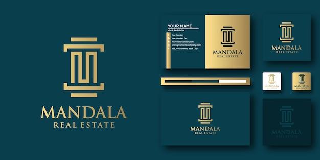 Modèle de lettre de logo mandala law avec concept moderne et conception de carte de visite