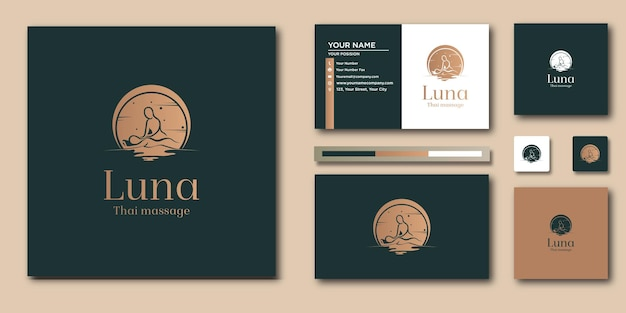 Modèle de lettre de logo spa vintage avec concept moderne et conception de carte de visite