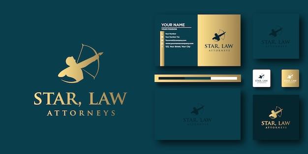 Modèle de lettre de logo star law avec concept moderne et conception de carte de visite