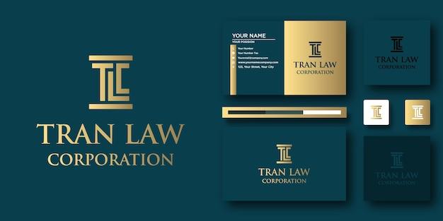 Modèle de lettre de logo tran law avec concept moderne et conception de carte de visite