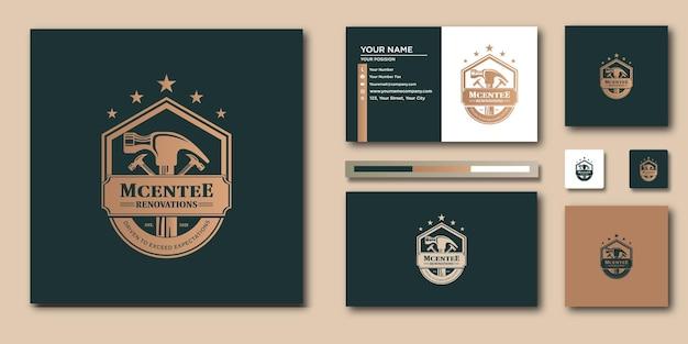 Modèle de lettre de logo vintage de marteau avec un concept moderne et un design de carte de visite