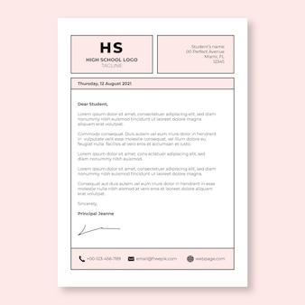 Modèle de lettre de motivation pour lycée rose quadrillé monochrome