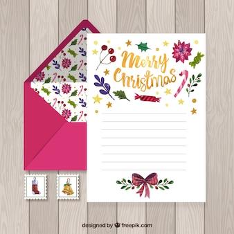 Modèle de lettre de noël aquarelle avec une enveloppe rose