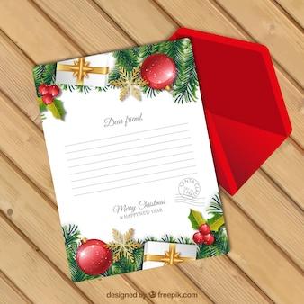 Modèle de lettre de noël avec enveloppe rouge