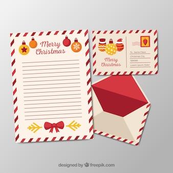 Modèle d'une lettre de noël avec une enveloppe