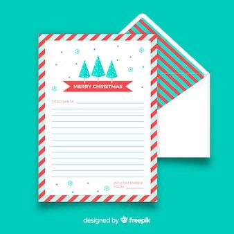 Modèle de lettre de noël de pins plats