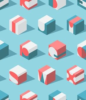 Modèle de lettres isométrique sans soudure, fond conceptuel moderne de l'éducation abc.