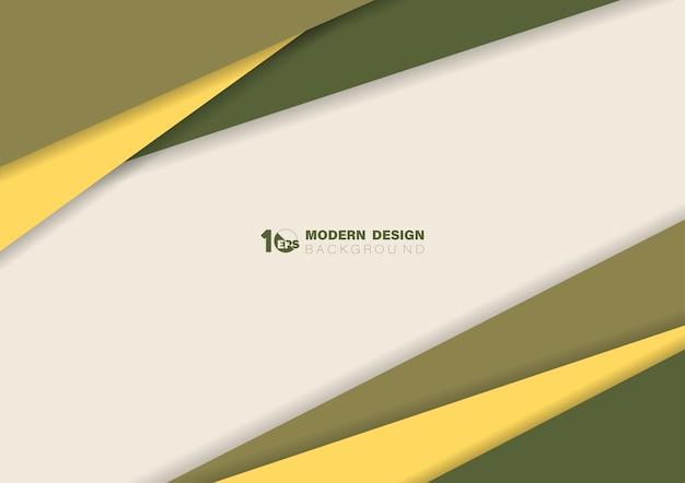 Modèle de ligne de couleur jaune et verte abstraite avec des illustrations de style ombre
