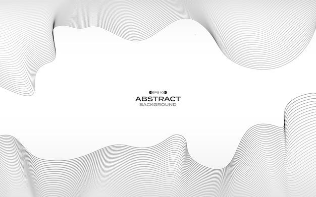 Modèle de ligne grise abstraite fond de conception de modèle fluide ligne ondulée