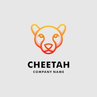 Modèle de ligne de logo de guépard tête