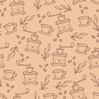 Modèle linéaire dessiné à la main avec des fournitures de café