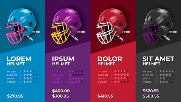 Modèle de liste de prix de casque de football américain
