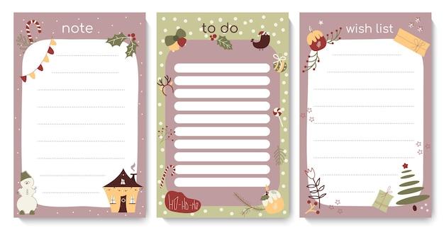 Modèle de liste de tâches de noël avec des éléments festifs mignons liste de contrôle d'hiver quotidienne calendrier du planificateur