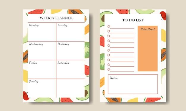 Modèle de liste de tâches de planificateur hebdomadaire avec fond d'illustration de fruits
