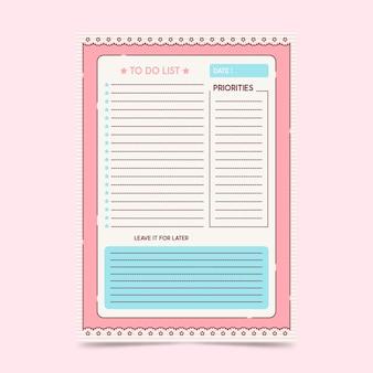 Modèle de liste de tâches vecteur premium