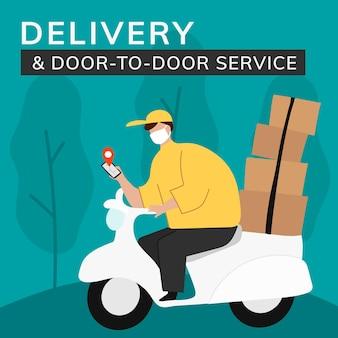 Modèle de livraison porte à porte publication sur les réseaux sociaux