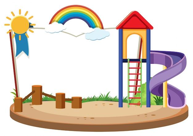Modèle de livre avec diapositive dans la cour de récréation