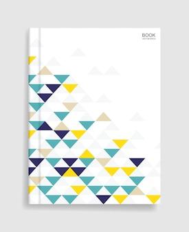 Modèle de livre de magazine avec couverture de motif géométrique coloré et ombre douce.