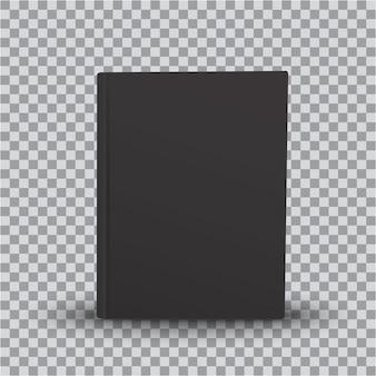 Modèle de livre vierge avec couverture noire sur fond transparent