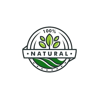 Modèle de logo 100 % naturel. feuille icône symbole vecteur logotype