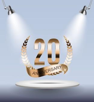 Modèle de logo 20 ans d'anniversaire
