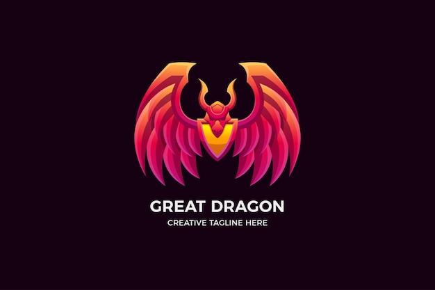 Le modèle de logo 3d dragon gradient
