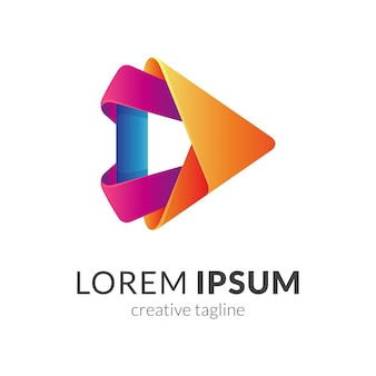 Modèle de logo 3d media play