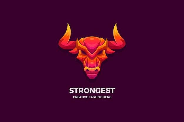 Le modèle de logo 3d wild bull gradient