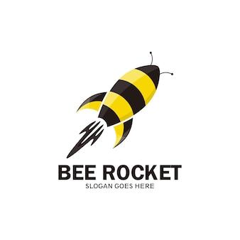 Modèle de logo d'abeille de fusée, avion de fusée d'abeille - vecteur