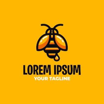 Modèle de logo d'abeille d'honeycomb