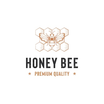 Modèle De Logo D'abeille Miel Isolé Sur Blanc Vecteur Premium