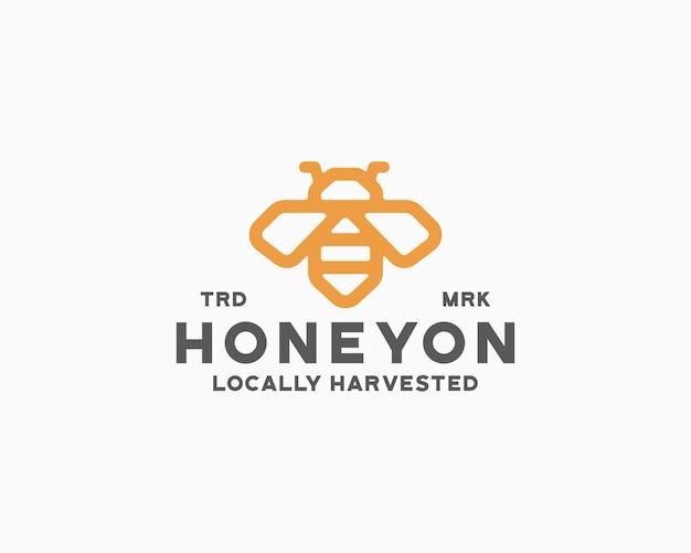 Modèle de logo abeille à miel